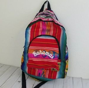 Handbags - Colorful Woven Bahamas Backpack and Small Pouch